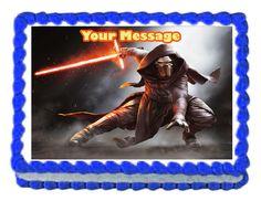 """Kylo Ren StarWars Edible image Cake topper decoration personalized -7.5""""x10"""" #kopykake"""