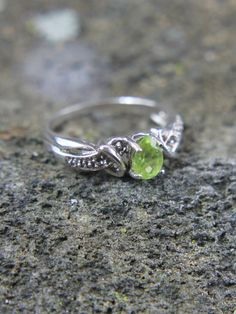 2330db04d Sterling Silver Pear Cut Lime Green Peridot Gemstone Ring Size 6, Fancy  Fashion Ring, Ladies Jewelry, August Birthstone, Gift for Her