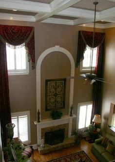 favorites--images of two story mantels | Custom Window Treatments - Two Story - family room - atlanta - by Next ...