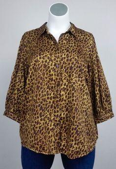 LAUREN Ralph Lauren 3X Brown Cheetah Leopard Cotton Shirt Blouse Top Plus Size #LaurenRalphLauren #ButtonDownShirt