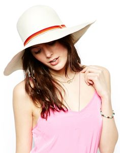 Catarzi Wide Brim Straw Hat With Multi Ribbon