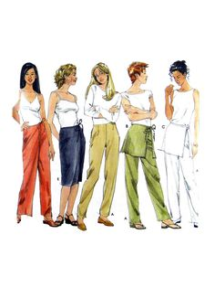 1999 Simplicity 9050 Misses' Long and Short by patternscentral Vintage Patterns, Vintage Sewing, Sewing Ideas, Sewing Patterns, Wrap Pants, Pants Pattern, Fashion History, 1990s, Jumpsuits