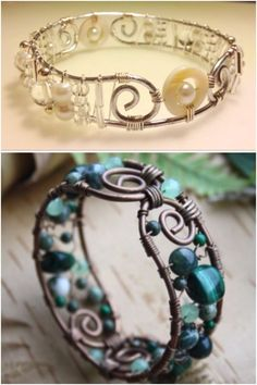 DIY Wire wrapped Bracelet | Lovely! Cool how the mood changes so much by changing the colour scheme :)