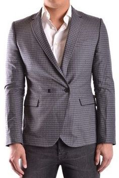 Bikkembergs Men's Grey Wool Blazer.