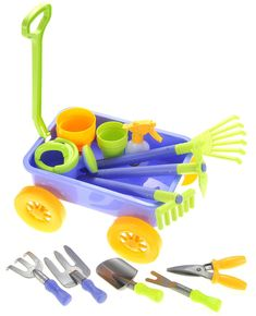 Garden Wagon & Tools Toy Set for Kids with 8 Gardening Tools, 4 Pots, Water Pail and Spray Garden Tool Storage, Garden Tool Set, Garden Ideas, Toddler Toys, Kids Toys, Water Pail, Garden Wagon, Mermaid Tails For Kids, Barbie Toys