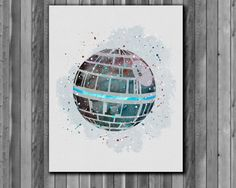 Star Wars Poster, Death Star watercolor - Art Print, instant download, Watercolor Print