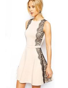 Summer Lace Beige Dress