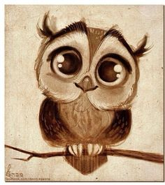 Owl drawing. This is so sweet it reminds me of my mother's drawings.
