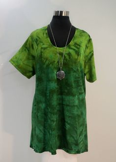 9acb1d86866 Plus size 2X green tie dye tunic top with scoop neck and short sleeves in bamboo  blend fabric