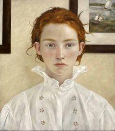 Louis Treserras, Jeune fille au pair. Mixta sobre tela, 70 x 80 cm