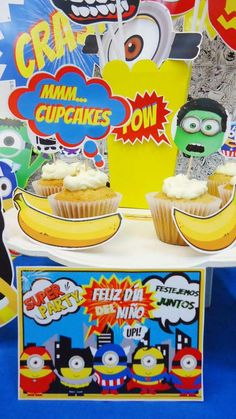 Banana cupcakes at an Avenger Minions birthday party! See more party planning ideas at CatchMyParty.com!
