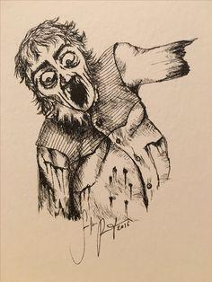Zombiezeichnung AUS DUNKLEN FEDERN II Einzelstück
