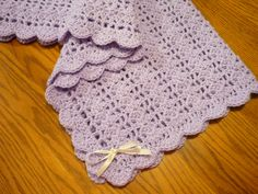 Crochet Baby Blanket Lacy Shell Stitch Crib Size Crochet Afghan - Baby Girl Lavender with Bow Accents - Direct Checkout - Ready to Ship by pegsyarncreations on Etsy