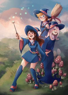 My full Little Witch Academia piece for the awesome @trigger-fanzine that I participated in! :) So many fantastic artists took part in it.
