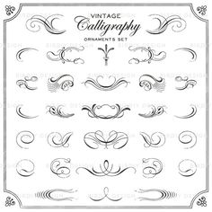 Vintage Ornaments Clip Art Set  Calligraphic by birDIYdesign