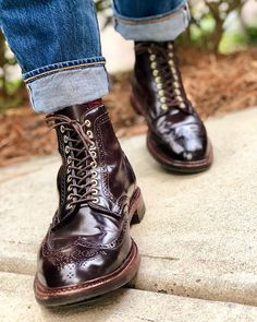 Leather Wingtip Lace Up Boots Dress With Boots, Lace Up Boots, Leather Boots, Dress Shoes, Cordovan Shoes, Alden Cordovan, Mens Boots Fashion, Stylish Mens Outfits, Formal Shoes