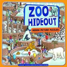 JJ PUZZLES KAL. Illustrated scenes related to the zoo invite readers to find a list of objects hidden within them.