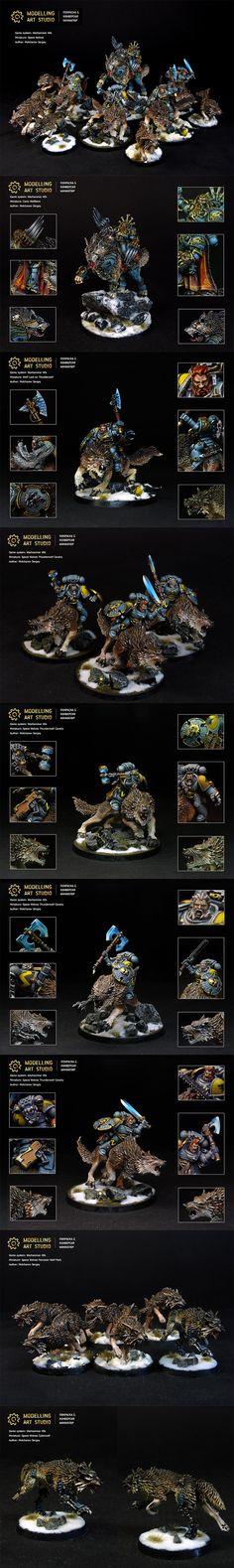 Space Wolves on Thunderwolf & Fenrisian Wolf