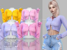 Crop Tops 446911963026348017 - sims 4 cc custom content clothing // Crop Top Cardigan for The sims 4 Source by kyoku_ Mods Sims 4, Sims 4 Mods Clothes, Sims 4 Clothing, Male Clothing, Clothing Logo, Gothic Clothing, Sims 4 Tsr, Sims Cc, My Sims