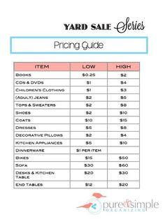 Yard Sale Pricing Guide | Free Printable | Pure & Simple Organizing