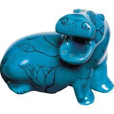 """Blue Egyptian Hippo at the British Museum """"The hippo is decorated with marsh plants and flowers symbolic of their habitat as well as lending a loveable air to his fierceness."""""""