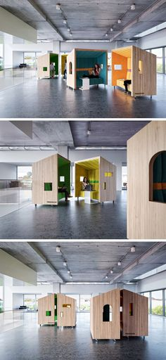 Dymitr Malcew Designs Office Breakout Seating Inspired By Treehouses /// Dymitr Malcew, an architect based in Singapore, has designed a collection of office breakout seating, inspired by treehouses. The seats can roll around to create small meeting spaces, or be kept separate to be used as individual work areas.