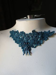 Venise Lace Applique in Jade Teal with Beadwork for  Jewelry or Costume Design CA 755
