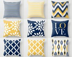 Throw Pillow Covers, Navy Yellow and White Decorative Pillows Throw Pillow Covers, Navy Yellow and White Decorative Pillows – HLB Home Designs - Mobilier de Salon Blue And Yellow Living Room, Living Room Grey, Living Room Decor, Bedroom Decor, Bedroom Ideas, Grey Room, Grey Throw Pillows, Yellow Pillows, Accent Pillows