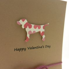 Dog Valentines Day Cards - Pink Hearts - Handmade - 10 Pack