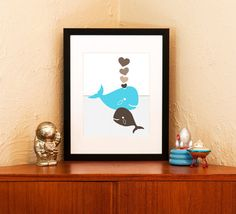 I Whale Always Love You - Aqua Blue Papa & Baby Whales Nursery Art Print - 100% Recycled Paper (Free Shipping in US)