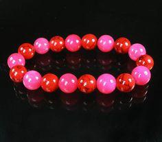 Bicolor HOT PINK & RED VENIS Chinese Jade Gem Prayer Mala Beads Bracelet 129