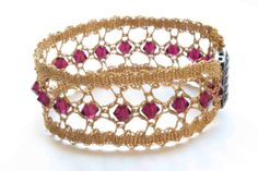 Bobbin lace bracelet with Swarovski beads (Model #1 Gold thread)