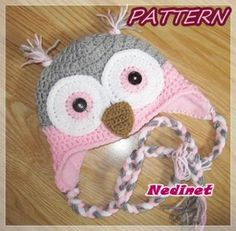 Owl crochet hat pattern - toddler to adult sizes