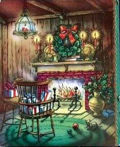 Vintage FireplaceChristmas Card UNUSED, with envelope Log Cabin Christmas, Old Time Christmas, Christmas Fireplace, Old Fashioned Christmas, Christmas Scenes, Christmas Past, Christmas Greetings, Fireplace Mantel, Images Vintage