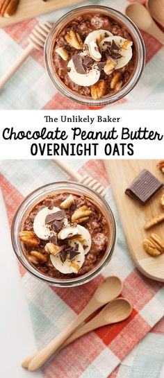 Grab and go breakfast that tastes like dessert? Yes, please! Chocolate peanut butter overnight oats is a great way to start the day. #choctoberfest #overnightoats #breakfast #recipe