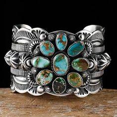 Delbert Gordon Navajo Roustin Turquoise Bracelet Sterling Silver bracelet