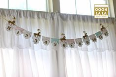 Deluxe Merry Go Round  First Year Photo Banner with Clips in light pink, gold and light teal on Etsy, $37.00