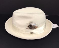 8c70bc19fc7d5 Men s Fedora Ivory Dress Hat Montell Collection by Bruno Capelo Wool Blend