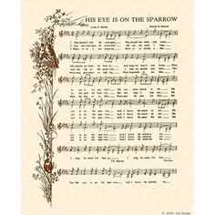 HIS EYE Is On The SPARROW --- 8 X 10 Antique Hymn Art Print