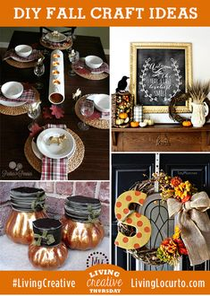 I LOVE these Beautiful Fall DIY Craft Decorating Ideas. Featured on #LivingCreative Thursday at LivingLocurto.com