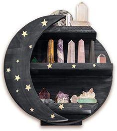Floating Shelf Decor, Crystal Shelves, Moon Decor, Display Shelves, Decoration, Diy Home Decor, Bedroom Decor, Black Moon, Early American