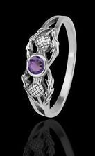 H  Y Sterling Silver Scottish Thistle Ring with Amethyst Stone GREAT GIFT