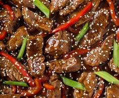 Tender flank steak stir fried with red peppers and green onions. Better and healthier than takeout, and tastes absolutely delicious! This quick, Asian inspired weeknight meal comes together in just 20 minutes! Asian Recipes, Beef Recipes, Cooking Recipes, Healthy Recipes, Ethnic Recipes, Chinese Recipes, Pepper Steak Recipes, Chinese Food, Recipies