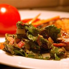 Pan Fried Swiss Chard Recipe with lemon, bacon and garlic. To die for!