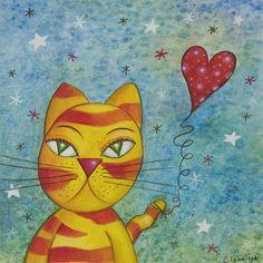 Original Painting, Original Art, Cat Art, Acrylic Painting, Nursery Art, Nursery…