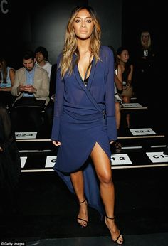 Beauty in blue: Nicole Scherzinger attended the Thomas Wylde Spring 2016 show in New York on Wednesday