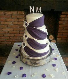 Cadbury Purple & Ivory Sash Wedding Cake Wedding Sash, Wedding Reception, Wedding Favours, Wedding Cakes, Chocolate Stout, Fondant Icing, Marzipan, Favors, Groom