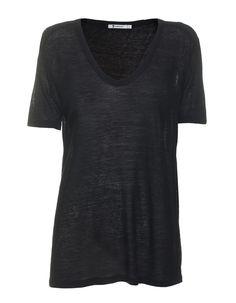 Seiden-Mix T-Shirt Die cleanen und hochwertigen Basics von T by Alexander Wang sind die perfekten Begleiter für jeden Look!  Schwarzes locker geschnittenes V-Neck T-Shirt im leichten Burn-Out-Look mit All-Over-Pilling für den perfekten Vintage-Look.  Der superlässige Schnitt macht das Viskose-Seiden T-Shirt zum Wohlfühl-Top!  Zu Leder-Skinnies, Ankle-Boots und It-Bag kombinieren ...