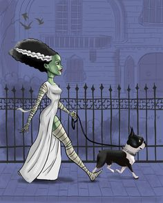 boston terrier art, print bride of Frankenstein, walking a boston terrier, Boston Terrier gift, movi