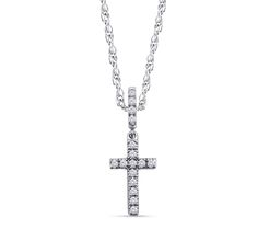 Dizeo white sterling silver cross necklace with 18K gold overlay set with lab created diamonds.